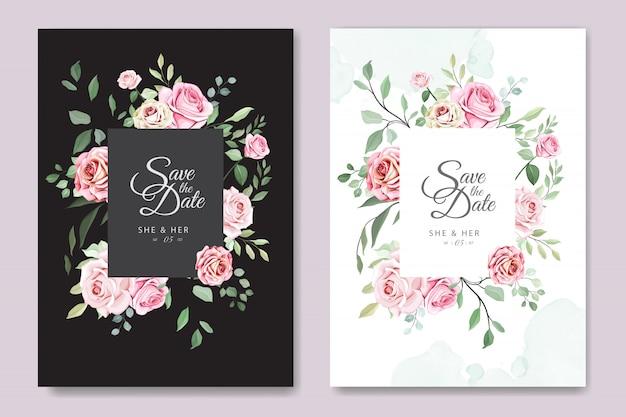 Karta ślub z pięknym szablonem kwiatowym Premium Wektorów
