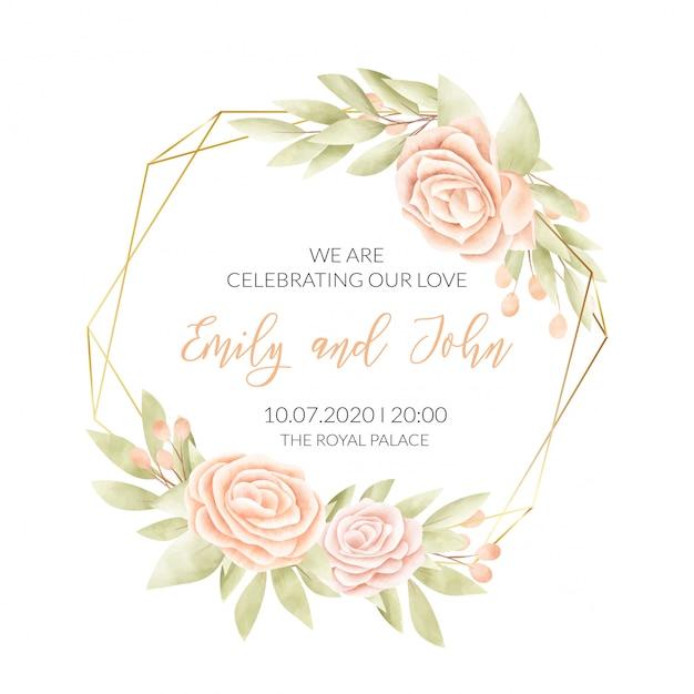 Karta ślub Z Ramą Kwiatowy Darmowych Wektorów