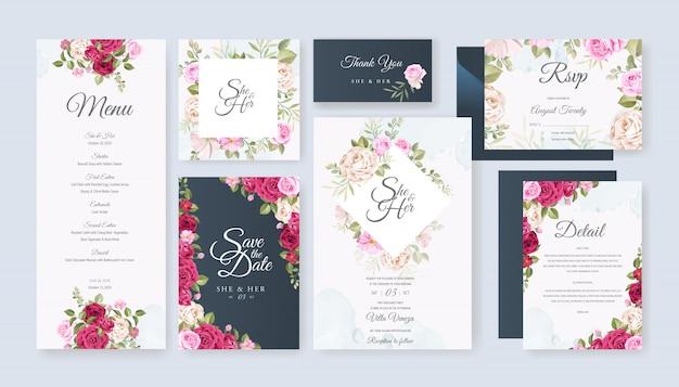 Karta ślub zestaw szablon z pięknym kwiatowy i liści Premium Wektorów
