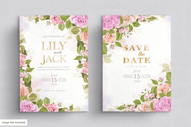 Karta ślubna Z Pięknym Kwiatowym I Liśćmi Darmowych Wektorów