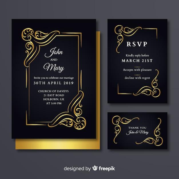 Karta ślubu weselnego Darmowych Wektorów