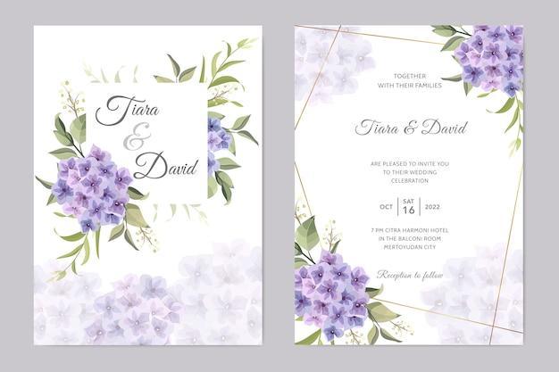 Karta ślubu Z Fioletowym Kwiatem Hortensji Premium Wektorów