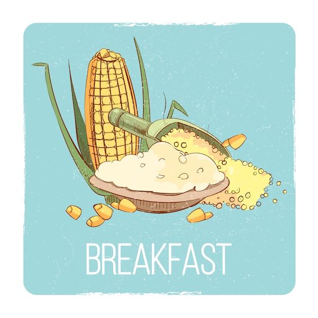 Karta śniadaniowa z kaszą kukurydzianą - koncepcja śniadania bezglutenowego Premium Wektorów