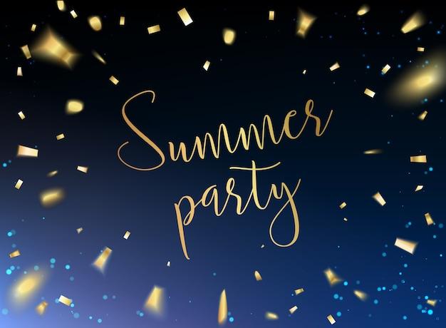 Karta Summer Party Z Złotym Konfetti Na Czarnym Tle. Darmowych Wektorów