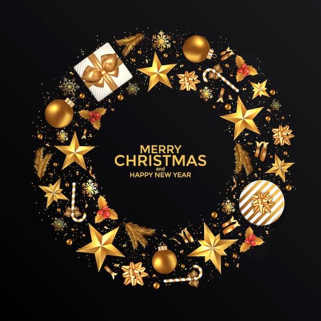 Karta świąteczna noworoczna Premium Wektorów