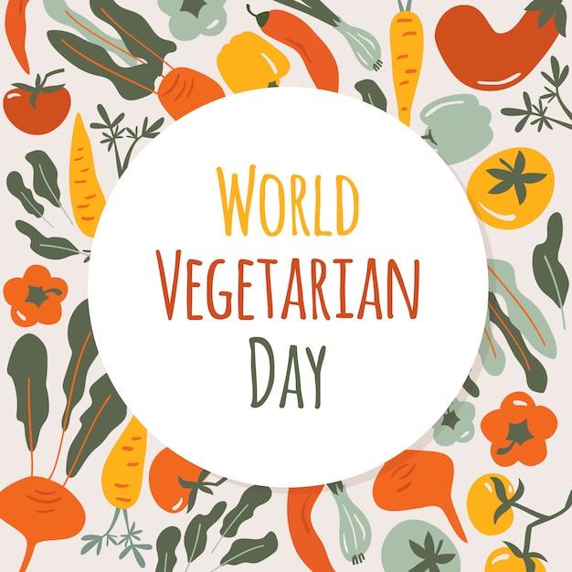 Karta światowego dnia wegetariańskiego. jesienne warzywa okrągły skład z naturalnym zdrowym jedzeniem Premium Wektorów