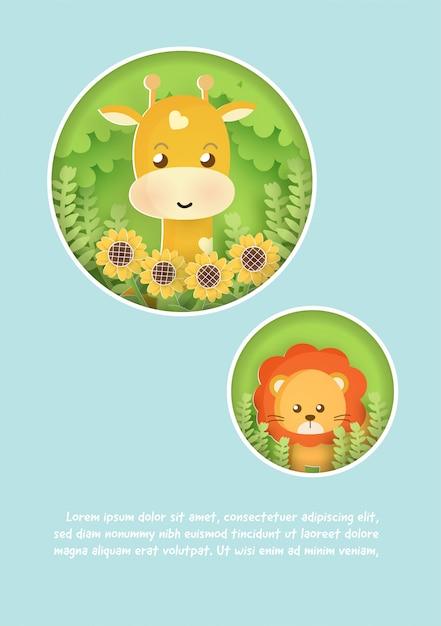 Karta Szablon Baby Shower Z żyrafą I Lwem W Lesie. Styl Cięcia Papieru. Premium Wektorów