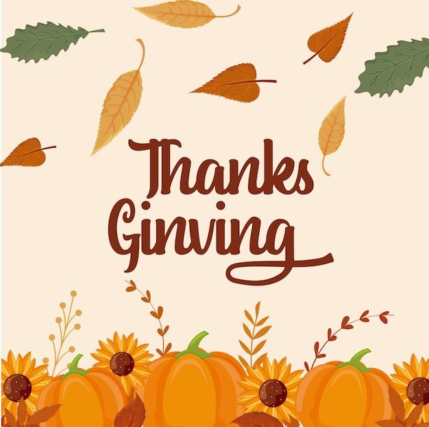 Karta szczęśliwego dziękczynienia i dynie Premium Wektorów