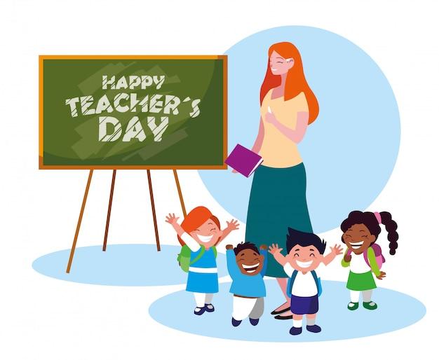 Karta szczęśliwy dzień z nauczycielem kobiet i uczniów Premium Wektorów