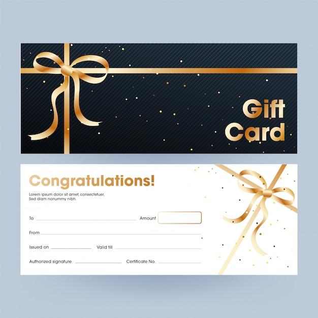 Karta upominkowa lub kupon, poziomy baner ze złotą wstążką. Premium Wektorów