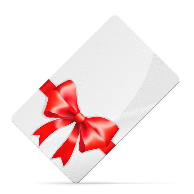 Karta Upominkowa Z Czerwoną Kokardą Na Białym Tle Darmowych Wektorów