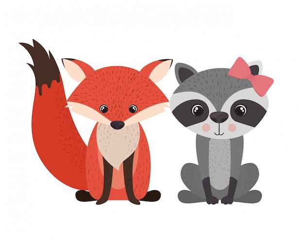 Karta Uroczystości Ze Zwierzętami Premium Wektorów