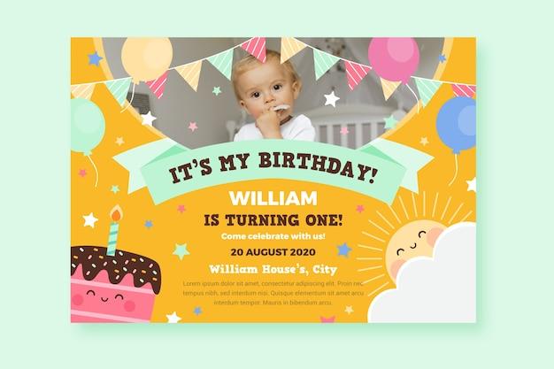 Karta Urodzinowa Dla Dzieci Na Przyjęcie Dla Dzieci Darmowych Wektorów