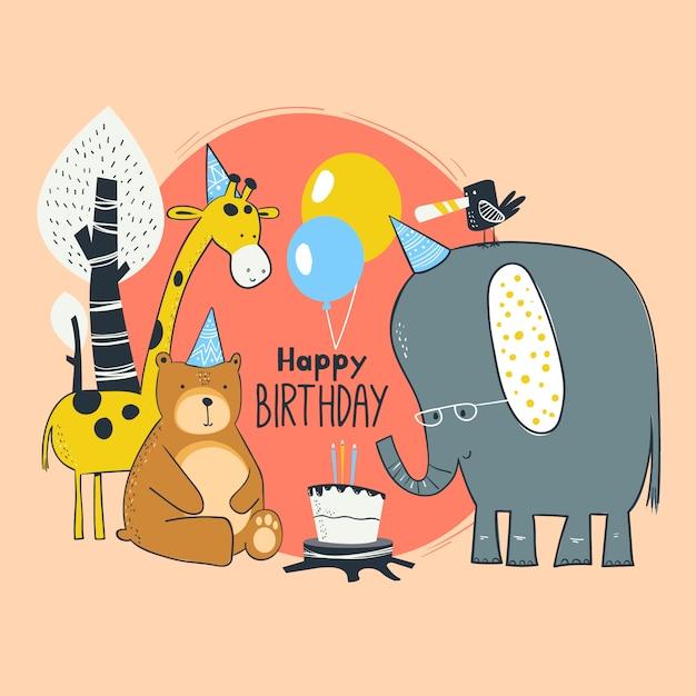 Karta Urodzinowa Dla Zwierząt Premium Wektorów