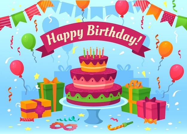 Karta Urodzinowa Kreskówka. Prezenty Na Uroczystości, Flagi I Balony Urodzinowe. Ilustracja Latające Konfetti Kartki Z życzeniami Premium Wektorów