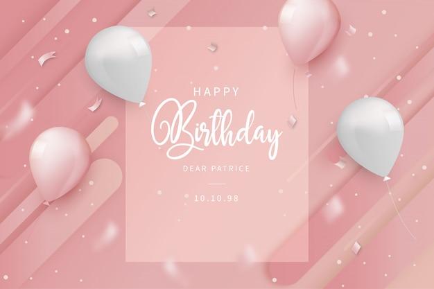 Karta Urodzinowa Z Balonami Darmowych Wektorów