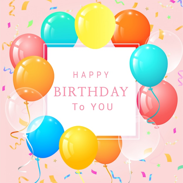 Karta Urodzinowa Z Balonów I Konfetti Premium Wektorów