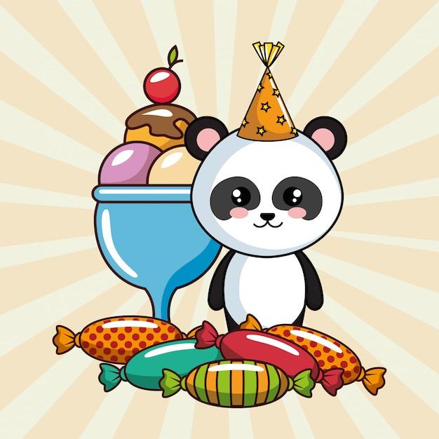 Karta Urodzinowa Z Misiem Panda Premium Wektorów