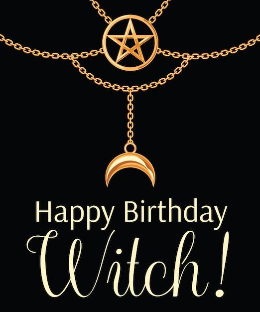 Karta urodzinowa z okazji urodzin. złoty metaliczny naszyjnik. Premium Wektorów