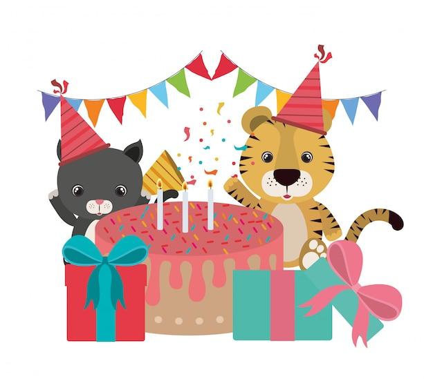 Karta urodzinowa ze zwierzętami Premium Wektorów