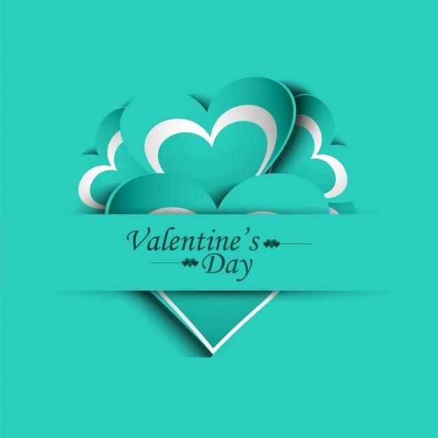Karta valentines dzień w turkusowym kolorze Darmowych Wektorów