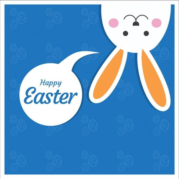 Karta Wielkanoc Z Cute Bunny Darmowych Wektorów