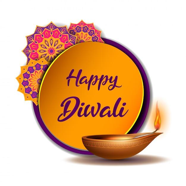 Karta Z Gratulacjami Z Płonącą Diją I żółtą Naklejką Z Indyjskim Rangoli Premium Wektorów
