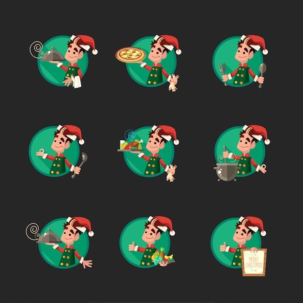 Karta Z Kreskówki Elf Na Imprezę Boże Narodzenie I Nowy Rok Premium Wektorów