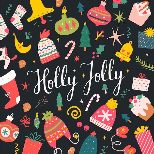 Karta Z Napisem Holly Jolly Na Boże Narodzenie Premium Wektorów