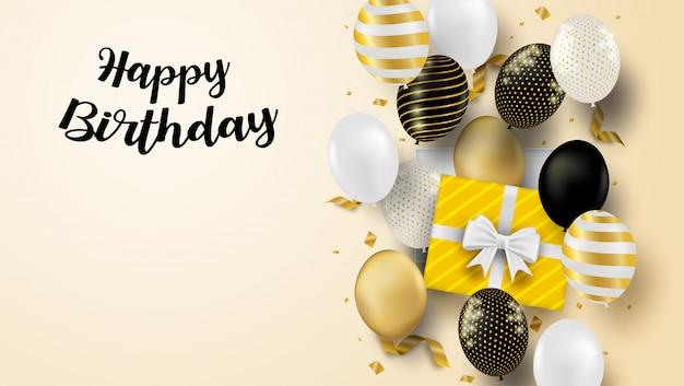 Karta Z Okazji Urodzin. Projekt Z Czarnymi, Białymi, Złotymi Balonami I Konfetti Ze Złotej Folii. Miękkie Tło. Premium Wektorów