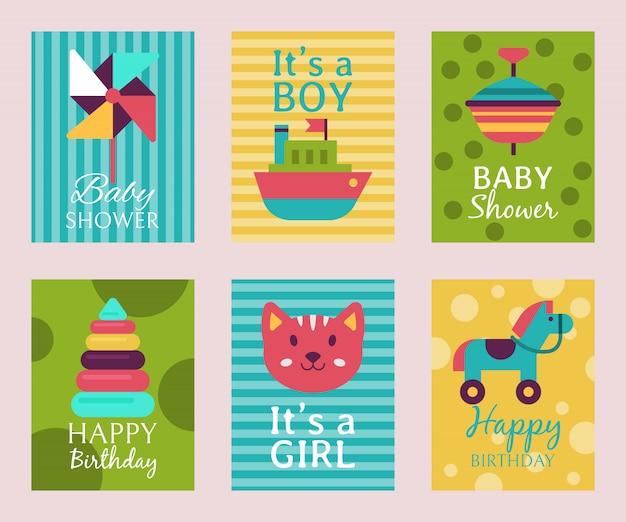 Karta Z Okazji Urodzin T-shirt Z Nadrukiem Baby Shower. Premium Wektorów