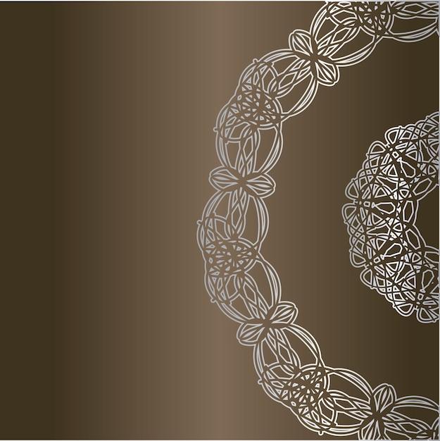 Karta Z Okrągłymi Ornamentami Koronki Premium Wektorów