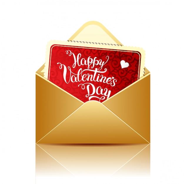 Karta Z Oryginalnym Napisem Happy Valentines Day I Złotą Kopertą Premium Wektorów
