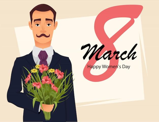 Karta z pozdrowieniami z 8 marca, przystojny dżentelmen Premium Wektorów