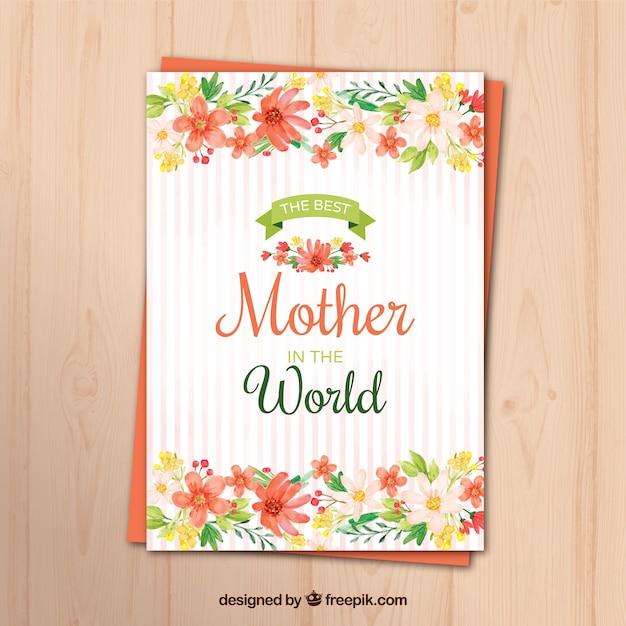 Karta Z Pozdrowieniami Z Kwiatami Akwarela Na Dzień Matki Darmowych Wektorów