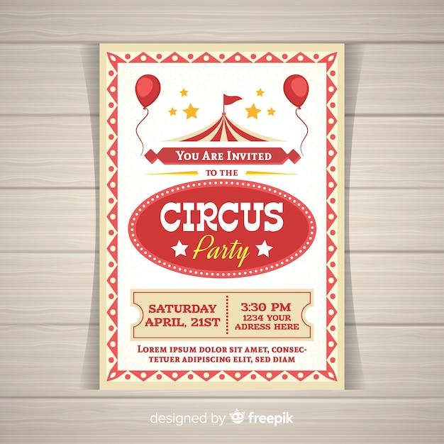 Karta Zaproszenie Na Imprezę Cyrkową Darmowych Wektorów