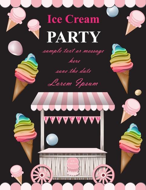 Karta Zaproszenie Na Lody Party Premium Wektorów