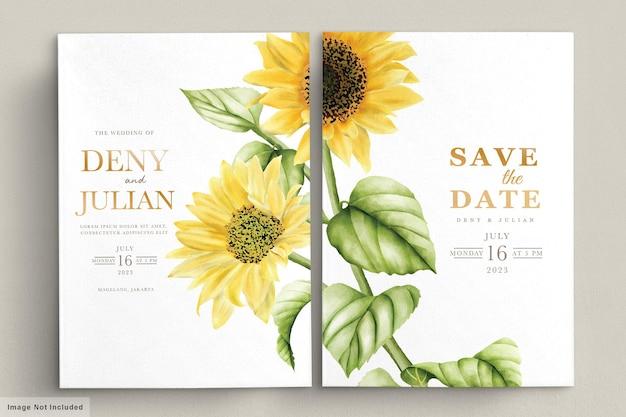 Karta Zaproszenie Na ślub Akwarela Kwiat Słońca Darmowych Wektorów