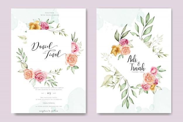 Karta zaproszenie na ślub akwarela z pięknym szablonem kwiatowy i liści Premium Wektorów