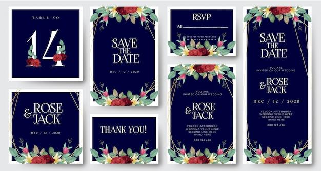 Karta Zaproszenie Na ślub Burgundii Akwarela Kwiatowy Premium Wektorów