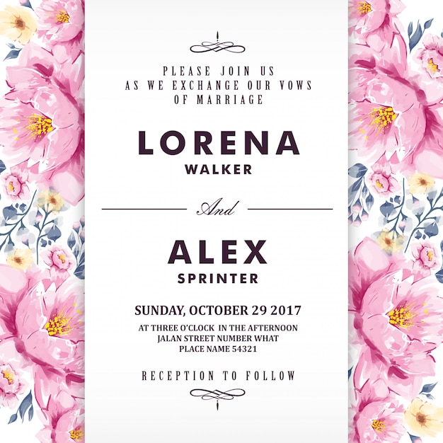 Karta zaproszenie na ślub kwiatowy kwiat akwarela Premium Wektorów