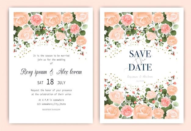 Karta zaproszenie na ślub kwiatowy ręcznie rysowane ramki. Premium Wektorów