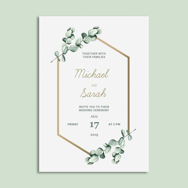 Karta zaproszenie na ślub kwiatowy Premium Wektorów