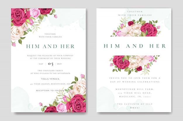 Karta zaproszenie na ślub piękny kolorowy szablon róż Premium Wektorów