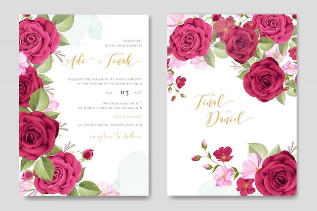 Karta Zaproszenie Na ślub Piękny Kwiatowy Szablon Ramki Premium Wektorów