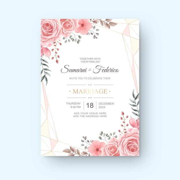 Karta zaproszenie na ślub szablon akwarela kwiat Premium Wektorów