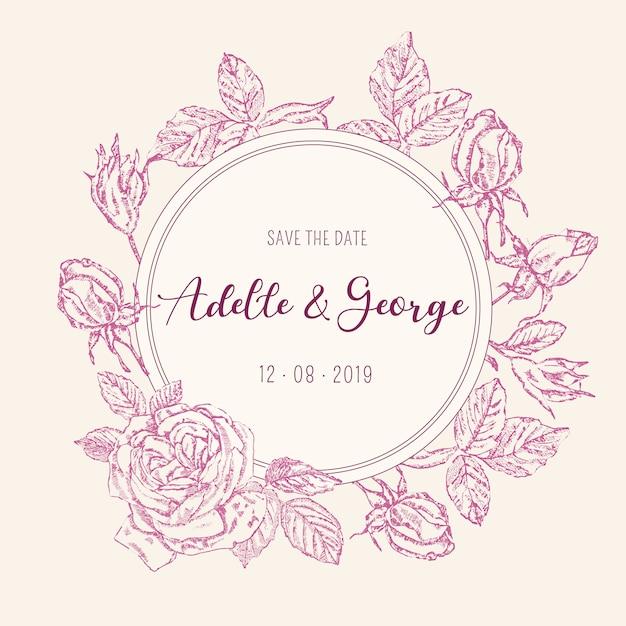 Karta zaproszenie na ślub vintage z różami Darmowych Wektorów