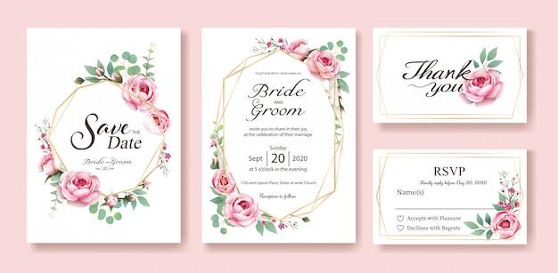 Karta zaproszenie na ślub. wektor. królowa szwecji podniosła się. Premium Wektorów