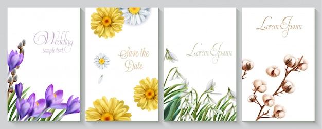 Karta zaproszenie na ślub wektor zestaw z akwarela krokus Premium Wektorów