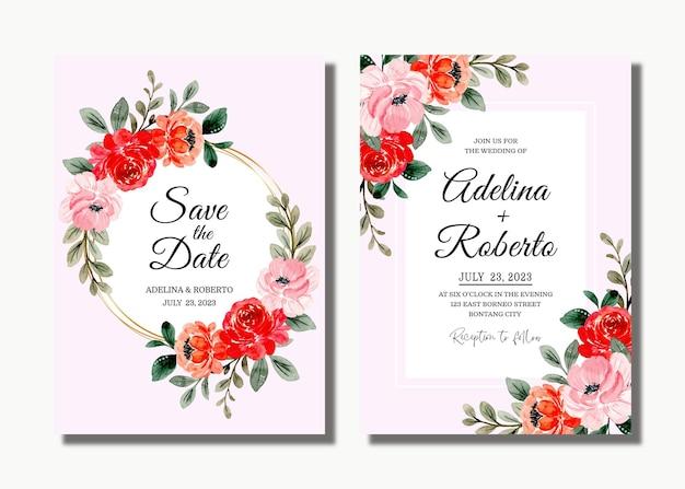 Karta Zaproszenie Na ślub Z Czerwoną Różową Kwiatową Akwarelą Premium Wektorów